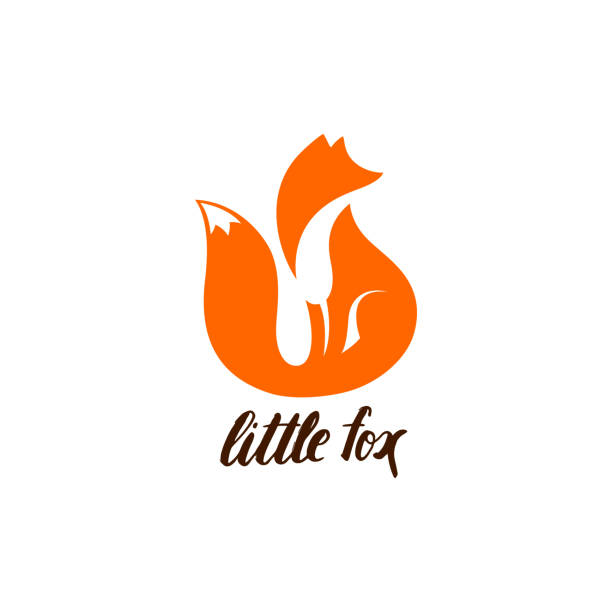 Negative Space Symbol with Sitting Fox. vector art illustration