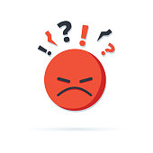 istock Negative thinking, bad experience feedback, unhappy client, difficult customer, poor service quality, angry red face 1150780293