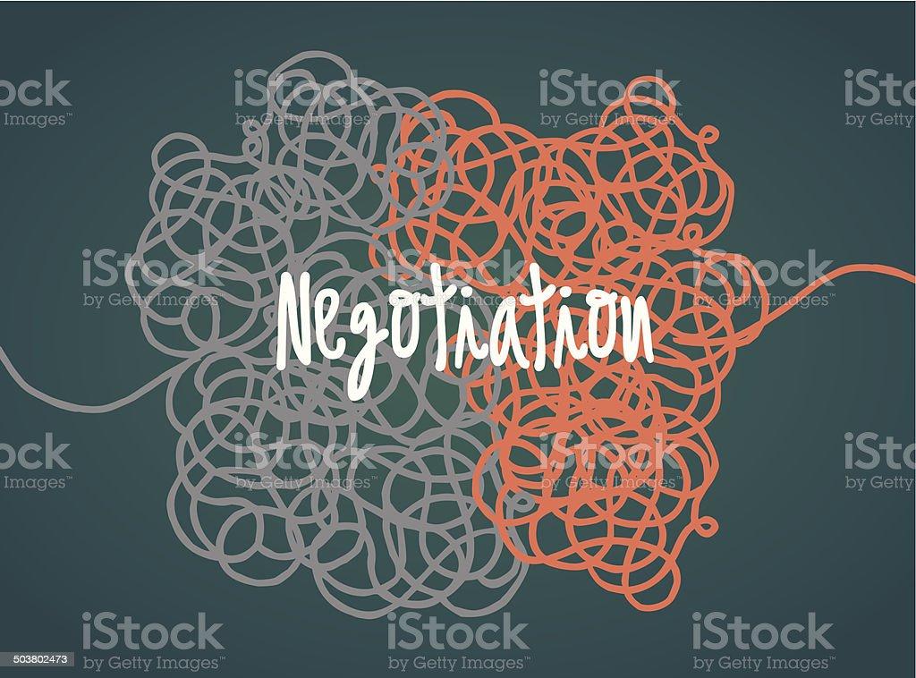 Negotiation in progress vector art illustration