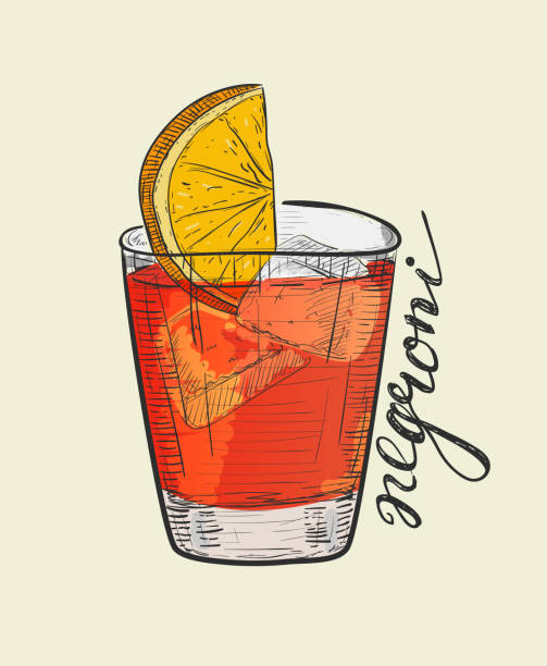 illustrazioni stock, clip art, cartoni animati e icone di tendenza di negroni alcoholic cocktail. hand drawn vector illustration in sketch style - aperitivo