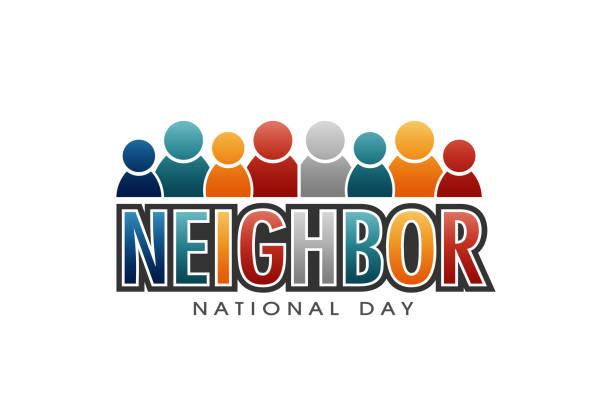 stockillustraties, clipart, cartoons en iconen met nationale dag brieven en mensen vector buurman - buren