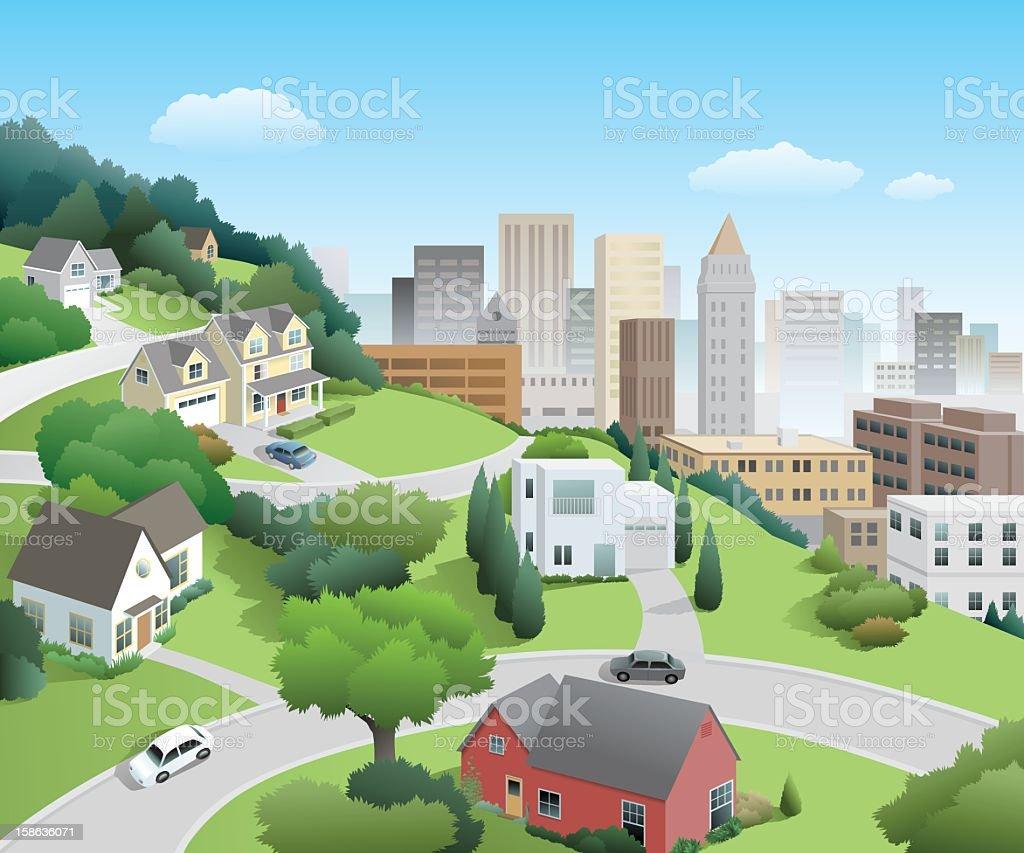 Neighborhood Above the City vector art illustration