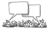 Hand-drawn vector drawing of a Neighborhood Communication Concept with two Speech Bubbles. Black-and-White sketch on a transparent background (.eps-file). Included files are EPS (v10) and Hi-Res JPG.