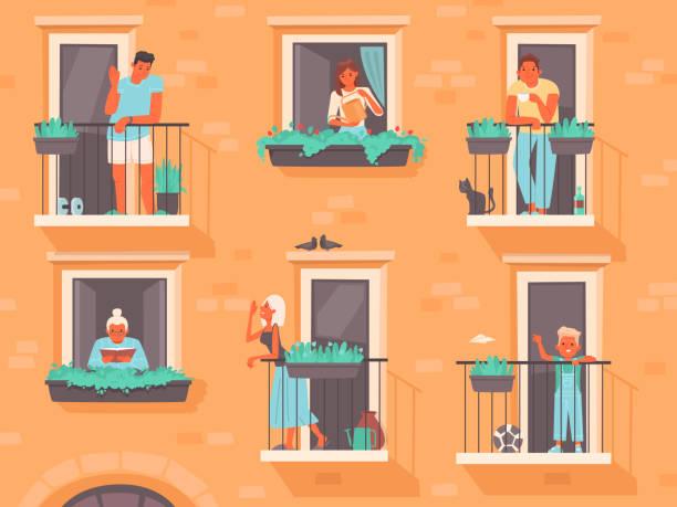 stockillustraties, clipart, cartoons en iconen met het concept van de buurt. mensen staan op balkons of kijken uit ramen. de buren van een appartementencomplex - buren
