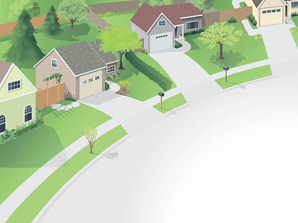 ilustrações de stock, clip art, desenhos animados e ícones de neighborhood cul de sac principal - driveway, no people