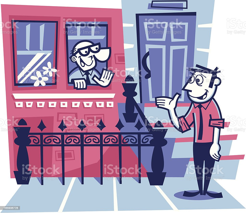 neighborhood friends vector art illustration