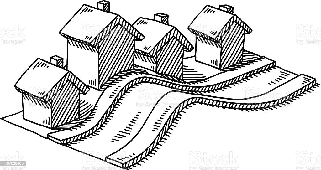 Hand-drawn vector drawing of a Neighborhood with similar Homes on a...