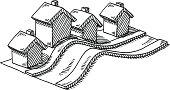 Neighborhood Homes Hilly Road Drawing