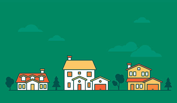 neighborhood domy - suburbs stock illustrations