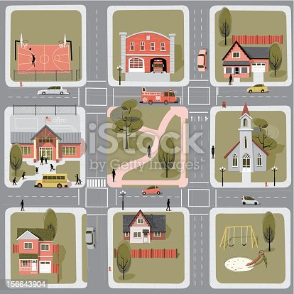 Another day at the neighborhood. Detailed map with six complete buildings and cars.