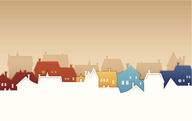 neighborhood - abstract silhouettes stock illustrations