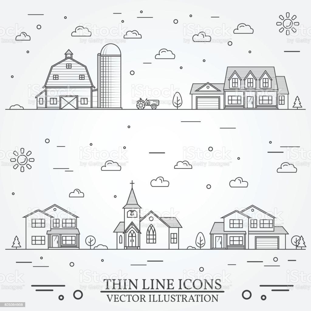 Neighborhood with buildings illustrated on white vector art illustration