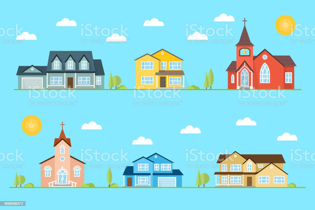 Neighborhood with homes and churches illustrated on the blue background
