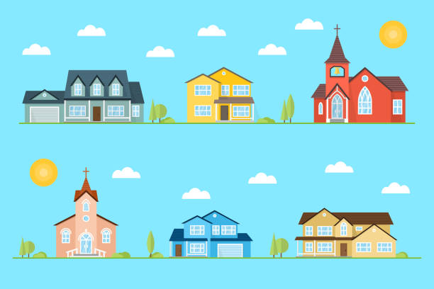 Neighborhood with homes and churches illustrated on the blue background Neighborhood with homes and churches illustrated on the blue background. Vector flat icon suburban american houses day, night. For web design and application interface, also useful for infographics. Vector illustration. church stock illustrations