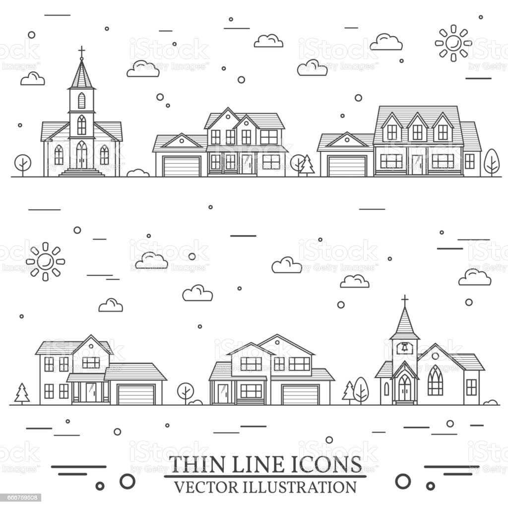 Neighborhood with homes and churches illustrated on white vector art illustration