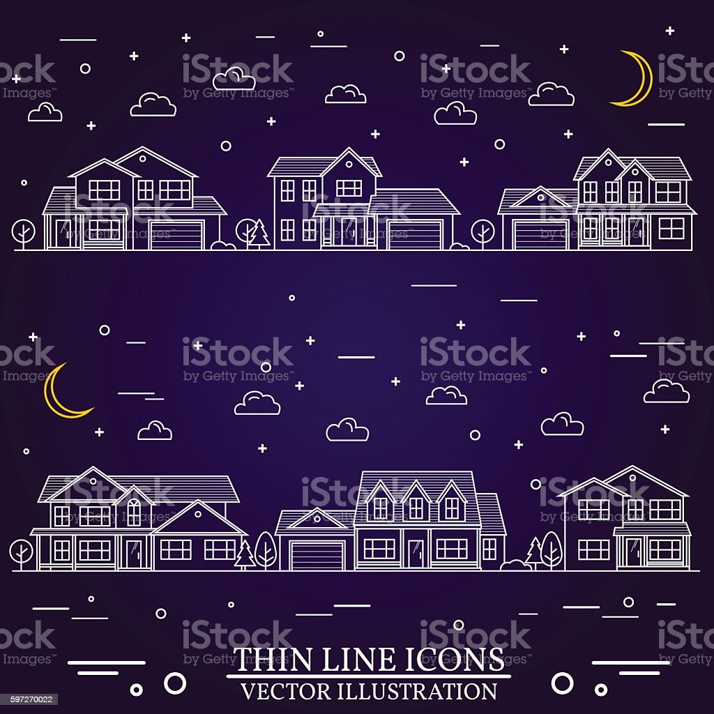 Neighborhood with homes illustrated on purple background. Lizenzfreies neighborhood with homes illustrated on purple background stock vektor art und mehr bilder von amerikanische kontinente und regionen