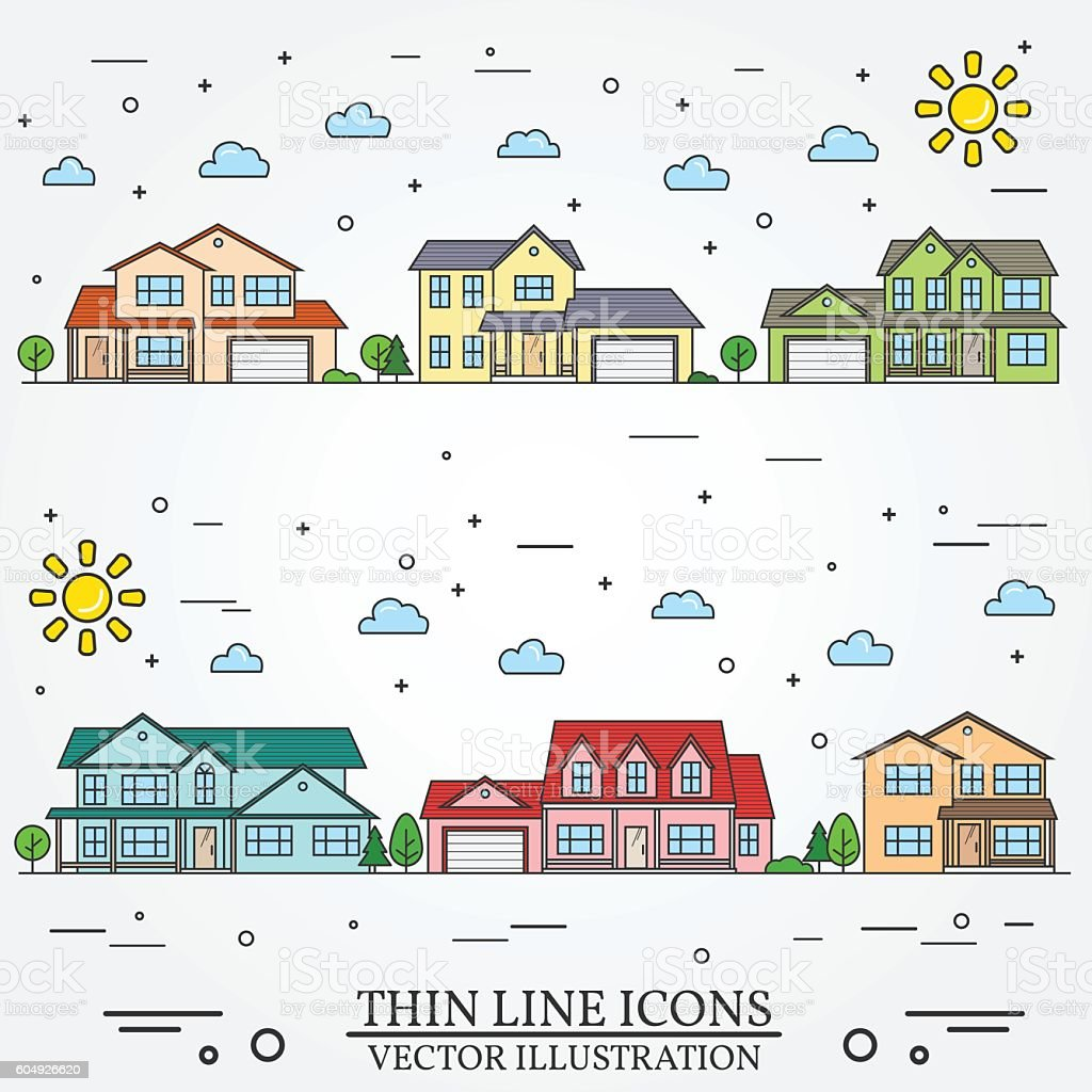 Neighborhood with homes illustrated on white background. vector art illustration