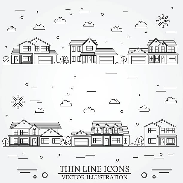 Neighborhood with homes illustrated on white. Neighborhood with homes illustrated on white. Vector thin line icon suburban american houses. For web design and application interface, also useful for infographics. Vector dark grey. porch stock illustrations