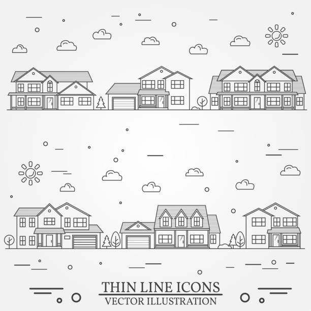 Neighborhood with homes illustrated. Vector thin line icon suburban american houses. For web design and application interface, also useful for infographics. Vector dark grey. Neighborhood with homes illustrated on white. Vector thin line icon suburban american houses. For web design and application interface, also useful for infographics. Vector dark grey. driveway stock illustrations
