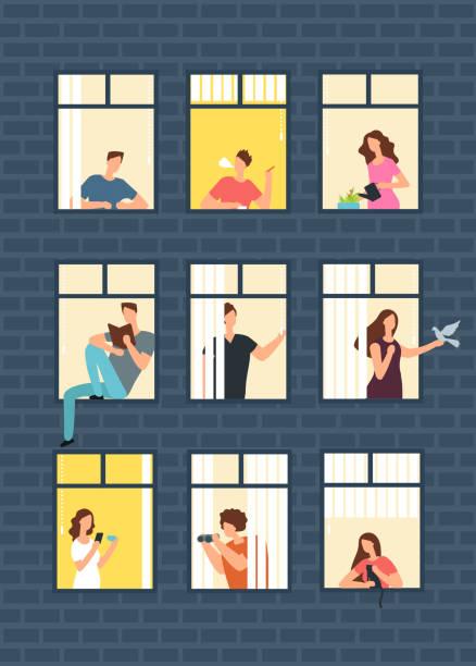 ilustrações de stock, clip art, desenhos animados e ícones de neighbors cartoon people in apartment house windows. neighborhood vector concept - isolated house, exterior
