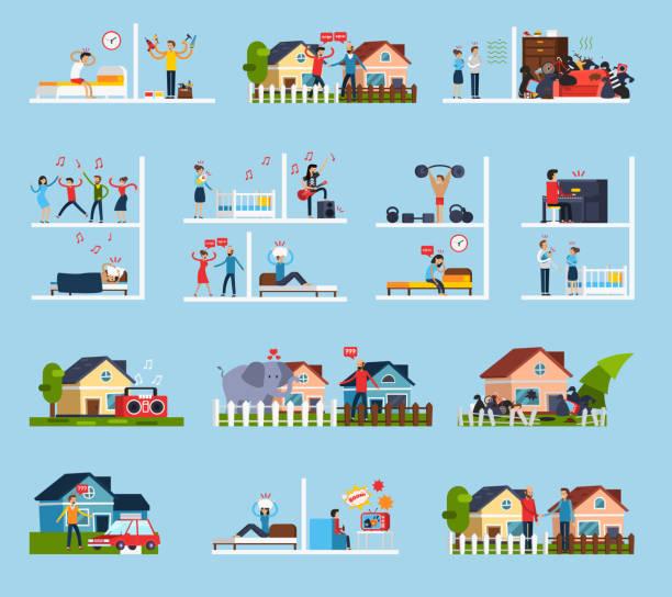 stockillustraties, clipart, cartoons en iconen met buren conflicten platte pictogrammen - couple fighting home
