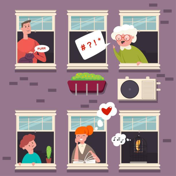 stockillustraties, clipart, cartoons en iconen met buren in de vensters. karakter van de mensen met een tekstballon. vector cartoon vlakke afbeelding van man, vrouw, grootmoeder, kind, kat en vogel in hout openslaand venster in een bakstenen gebouw. - buren