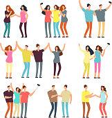 Neighbors men and women characters. Friends groups. Good neighborhood vector cartoon friendly people set. People man and woman character together illustration
