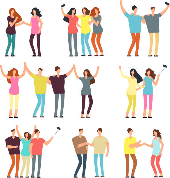 Neighbors men and women characters. Friends groups. Good neighborhood vector cartoon friendly people set Neighbors men and women characters. Friends groups. Good neighborhood vector cartoon friendly people set. People man and woman character together illustration young couple stock illustrations