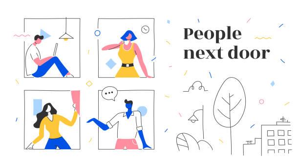 stockillustraties, clipart, cartoons en iconen met buren & neighborhood concept - buren