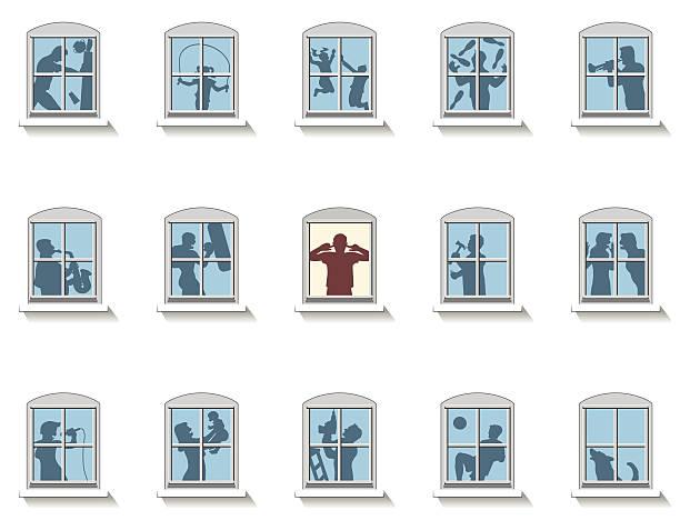 stockillustraties, clipart, cartoons en iconen met neighbors noise windows - buren