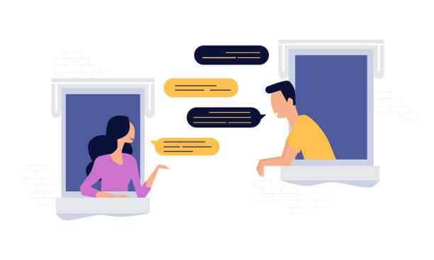 stockillustraties, clipart, cartoons en iconen met buren mensen teken chat venster, sociaal netwerk concept, platte illustratie vector - buren