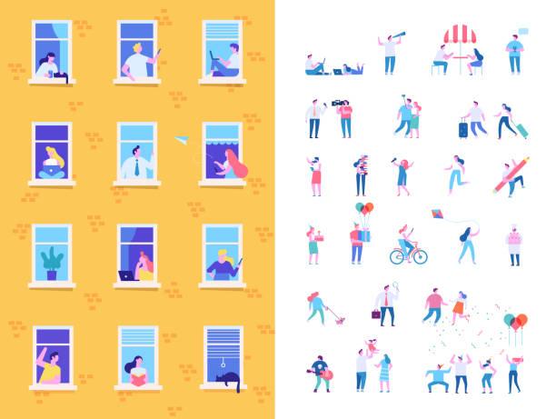 stockillustraties, clipart, cartoons en iconen met buren personen personages. - raam