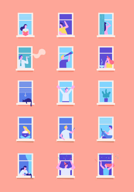 stockillustraties, clipart, cartoons en iconen met buren personen personages. - buren