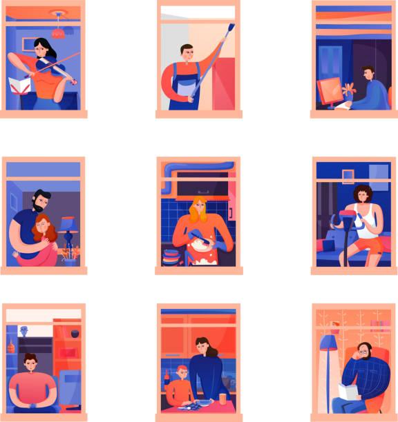 stockillustraties, clipart, cartoons en iconen met buren mensen in raamkozijnen ingesteld - buren