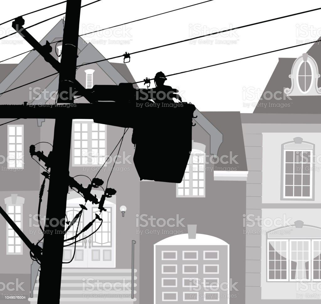 Neighbourhood power maintemance vector art illustration
