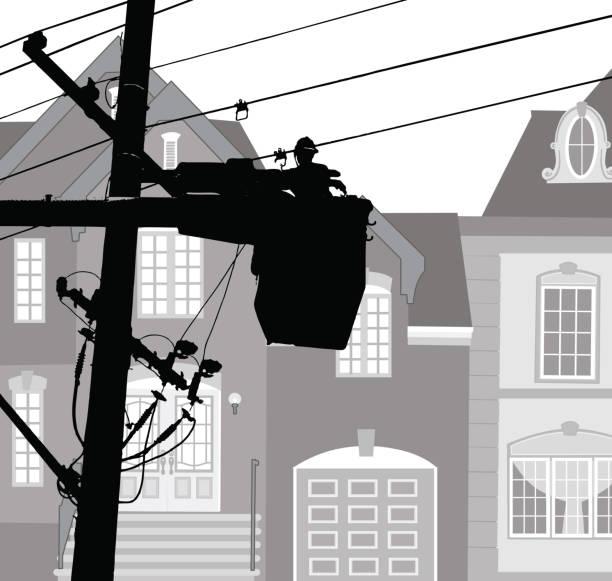 neighbourhood power maintemance - electrical wiring home stock illustrations, clip art, cartoons, & icons