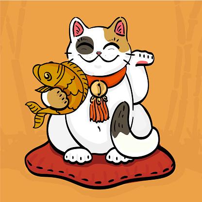 neko talisman cat beckoning wealth with golden fish