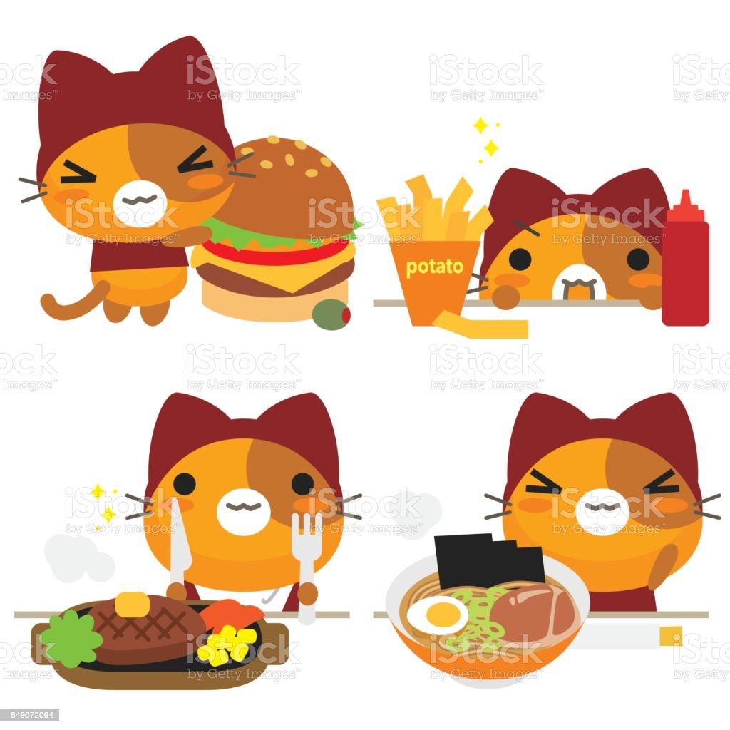 ねこの話猫と食べ物 - イラストレーションのベクターアート素材や画像を