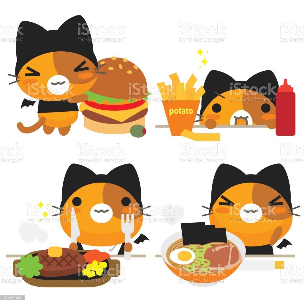 ねこの話猫と食べ物 のイラスト素材 849672382 | istock