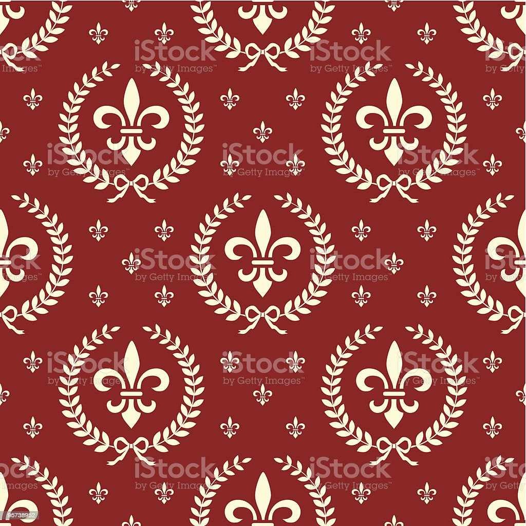 Neoclassical seamless textile pattern with laurel wreath in red royalty-free stock vector art