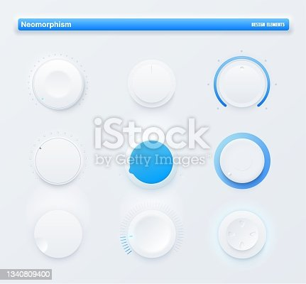 istock Neomorphic UI kit mobile app round level buttons 1340809400