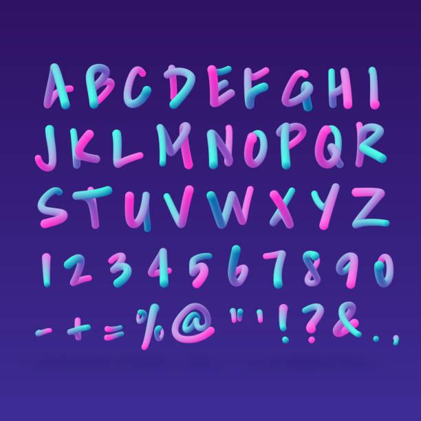 neon 3d alphabet - bubble fonts stock illustrations