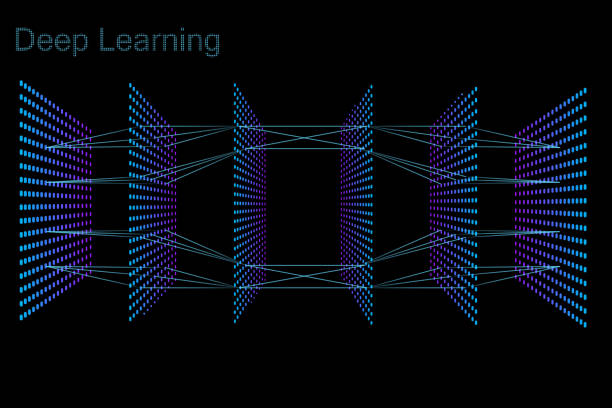 Neon 3D neural network with six layers The model of deep learning neural network. Six layers model. Neon dots on black background machine learning stock illustrations