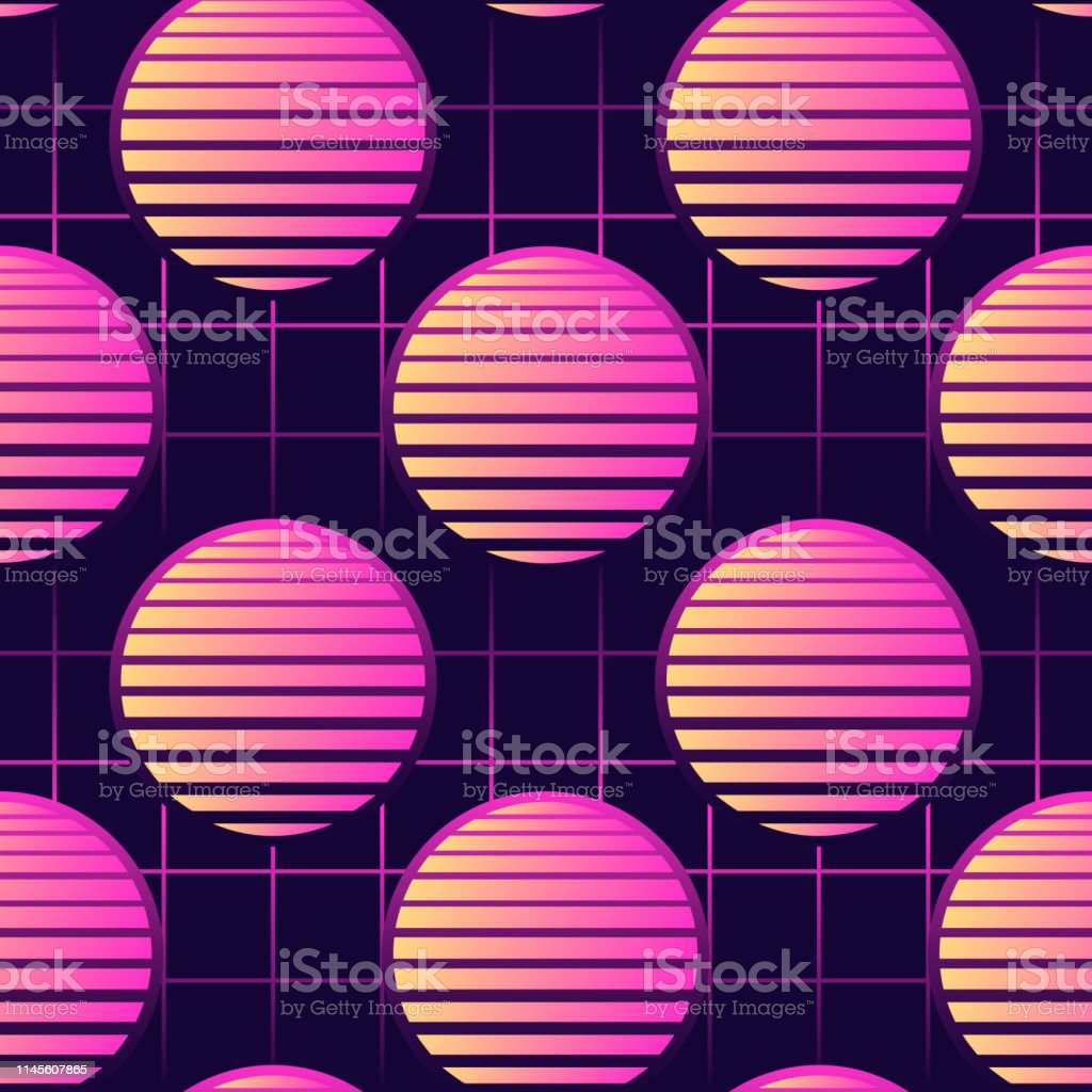 Neon 80s Style Seamless Pattern With Spheres Futuristic Digital