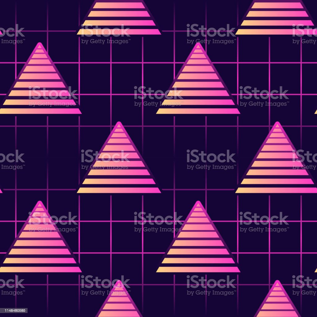 neon 80s style seamless pattern with triangles futuristic digital vector id1148460585