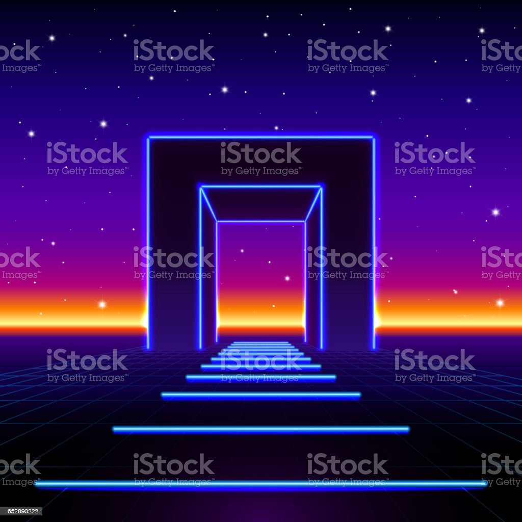 Neon 80s styled massive gate in retro game landscape with shiny road to the future vector art illustration