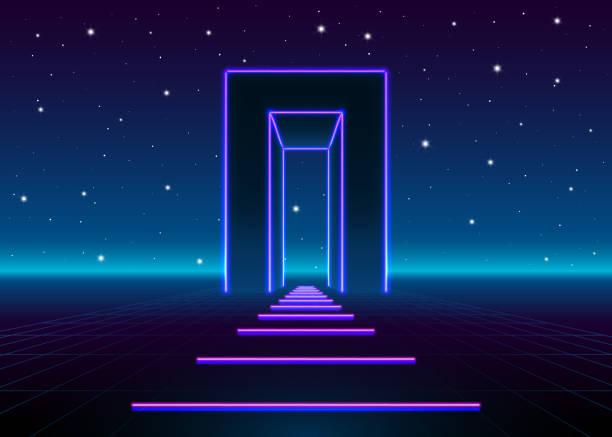 neon 80s styled massive gate in retro game landscape with shiny road to the future - türposter stock-grafiken, -clipart, -cartoons und -symbole