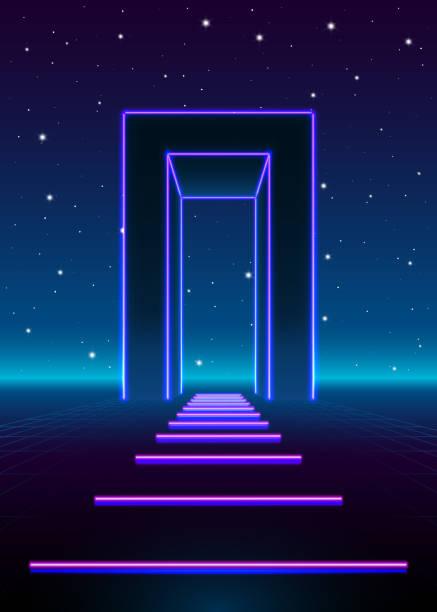 neon 80er jahre stil massives tor in retro-spiel landschaft mit glänzenden weg in die zukunft - türposter stock-grafiken, -clipart, -cartoons und -symbole