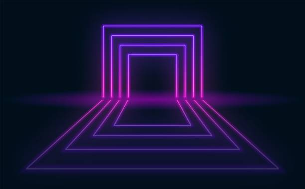 neon abstract futuristic background. neon portal with reflection in the dark room. - dyskoteka stock illustrations