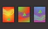 Neon abstract poster graphic elements, trendy disco colors, cover design banners.